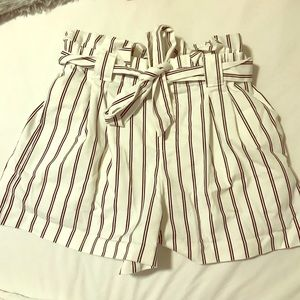 Zara paper bag striped shorts